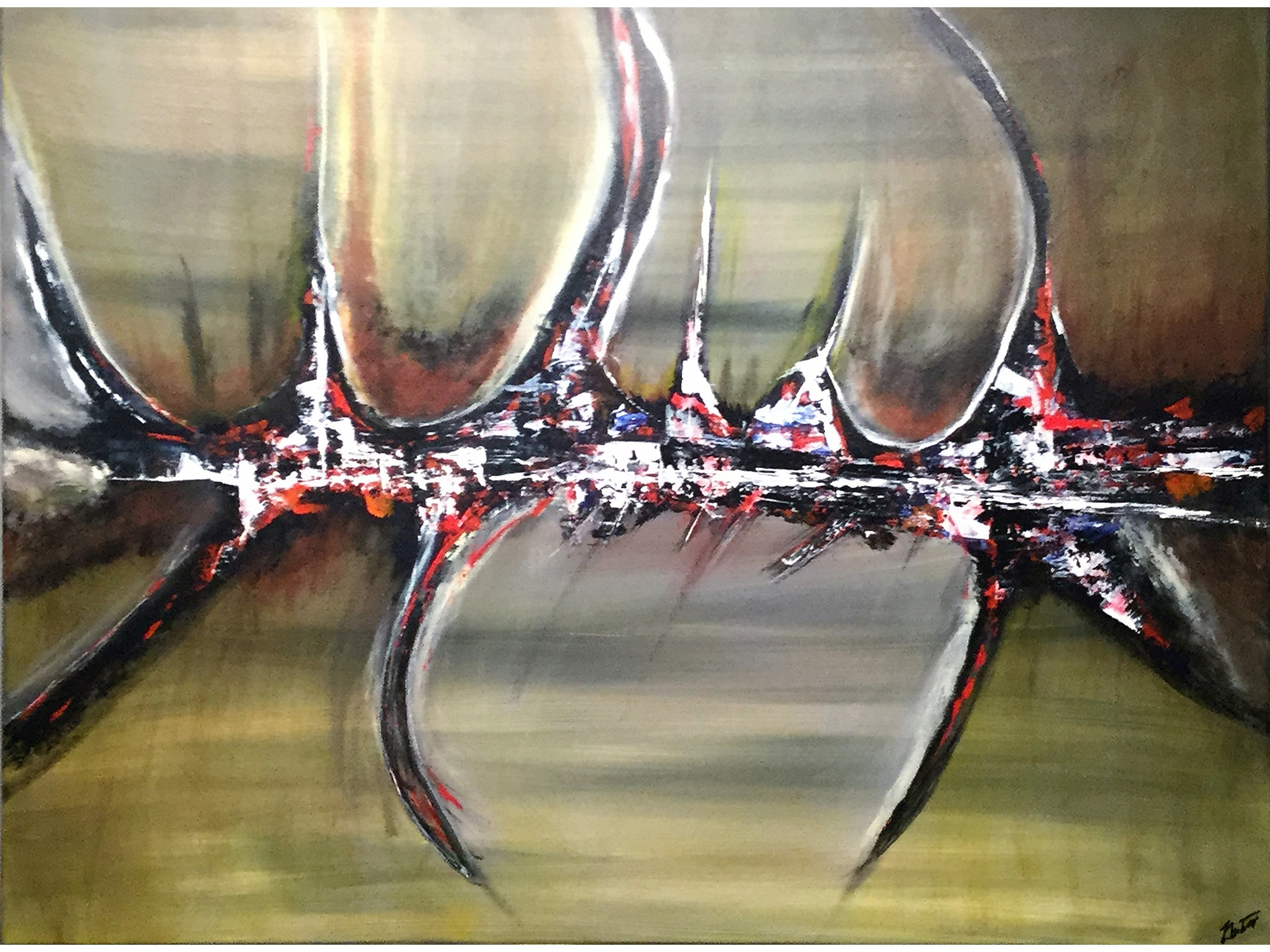 City Over Bridge - Abstract acrylic painting on stretched canvas