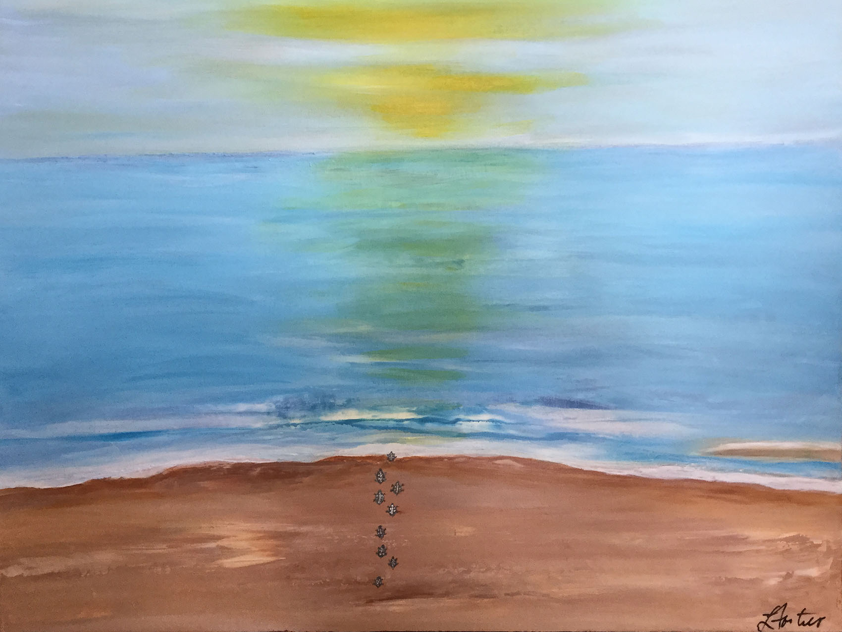 Paradise in Vivo -  Large contemporary acrylic painting on stretched canvas